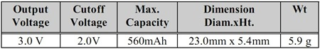 lithium battery specification